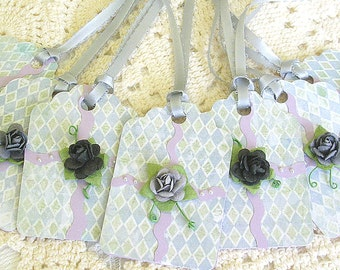 Rose Tags - Pastel Gift Tags - 3D Rose Gift Tags - Shower or Favor Tags - Purple Gift Tags