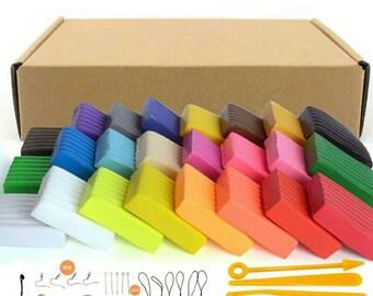 Oven Bake Polymer Clay Slime Blocks Plasticine DIY Kit Toy Light Clay Plasticine Oven Bake Putty Sculpey 24 color DIY Kit Set 500g