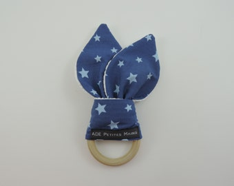 Blue star pattern wooden Bunny teether