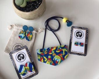 Multicolored abstract print polymer clay necklace black blue yellow adjustable length Beach Life Clay bib necklace GIFT set dangles