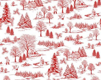 White/Red Winter Toile  Cotton Fabric Studio E 3252S-08