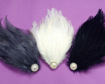 Grey Ivory or Black Feather Pad Bridal Pearl Wedding Hair Accessories