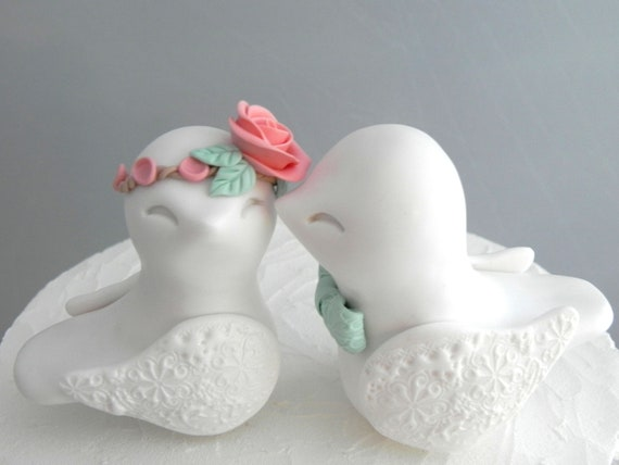Love Birds Wedding Cake Topper, White, Coral and Mint Green - Bride and Groom Keepsake, Fully Custom
