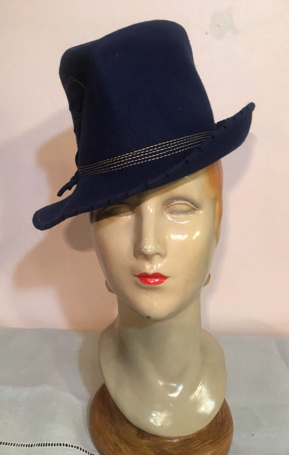 Vintage 1940s German Style Blue Felt Hat by Dietrich V. Spreckelsen of Hamburg