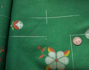 "Vintage Japanese wool kimono fabric 36"" x 14"" (92 cm x 36 cm) green woven flowers and bud"