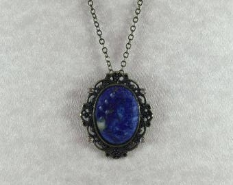 Blue Lapis Crystal Brass Pendant