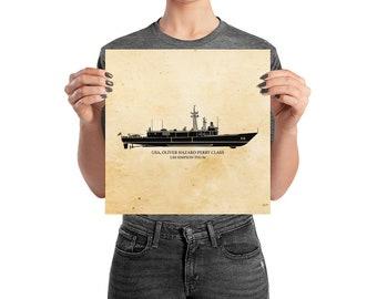 KillerBeeMoto: Oliver Hazard Perry Class Frigate Print With Custom Vessel Name Option