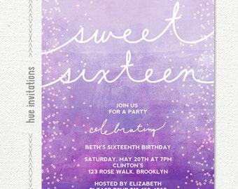 purple violet 16th birthday invitations, ombre watercolor glitter confetti sweet 16 invites, digital printable teen birthday invitation 150