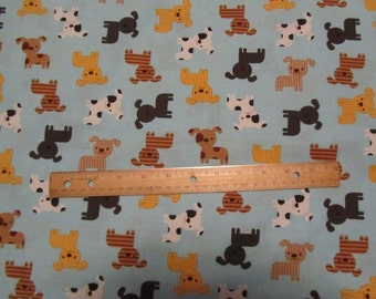 Blue Geo Dog/Puppy Toss Cotton Fabric by the Yard
