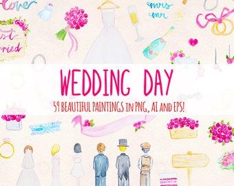 Wedding Day - 59 Floral Wedding Elements - Watercolor Graphics Kit Bundle!