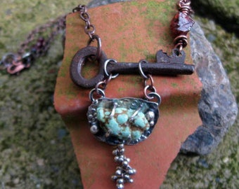 Rusted antique key, turquoise and garnet necklace
