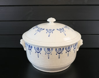 Antique French ironstone tureen,  cream with blue pattern,  St.Uze faience . French kitchen soupiere.