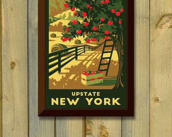 Upstate New York Vintage Travel Poster- Apple Tree, Country, and Mountains Art Print