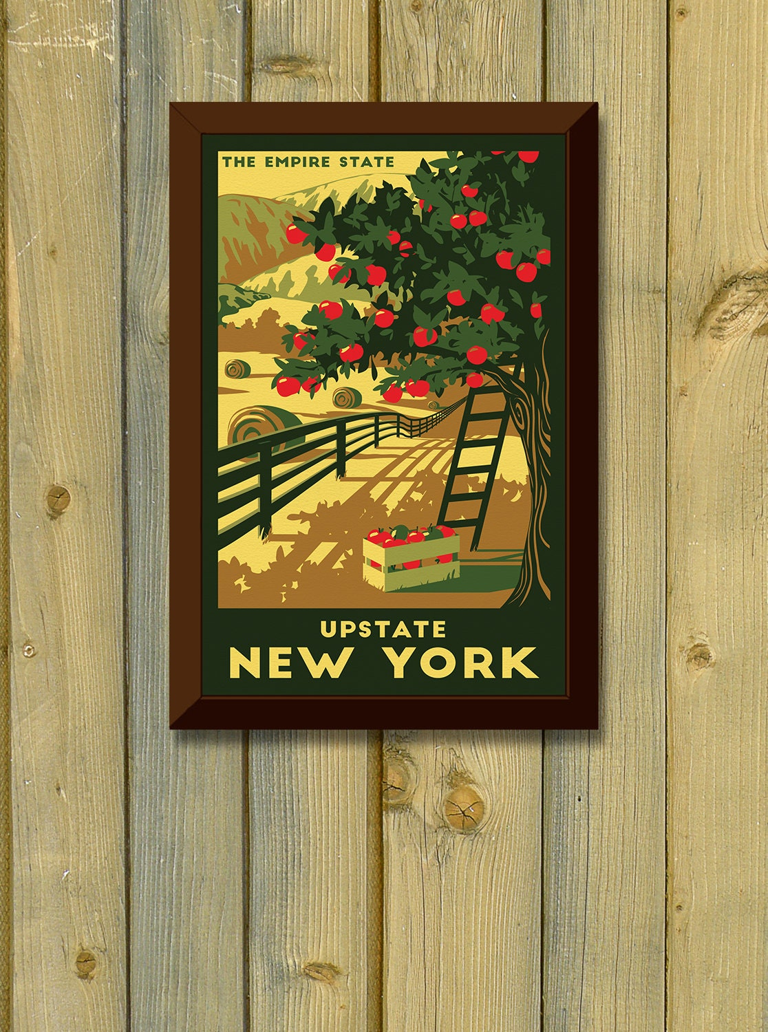 Upstate New York Vintage Travel Poster Apple Tree Country