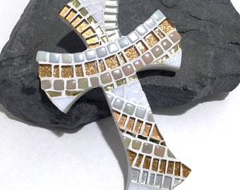 Gift for Godson, Boy Baptism Gift, Copper Mosaic Wall Cross, Christening Gift for Boys, Catholic Gifts, Decorative Cross, Cross for Nursery