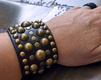 Midas Leather Cuff Bracelet, Ready-2-Ship, BROWN & BRASS, Men's Women's Leather Wrist Band, Gypsy Leather Cuff Bracelet, Boho Tribal Jewelry