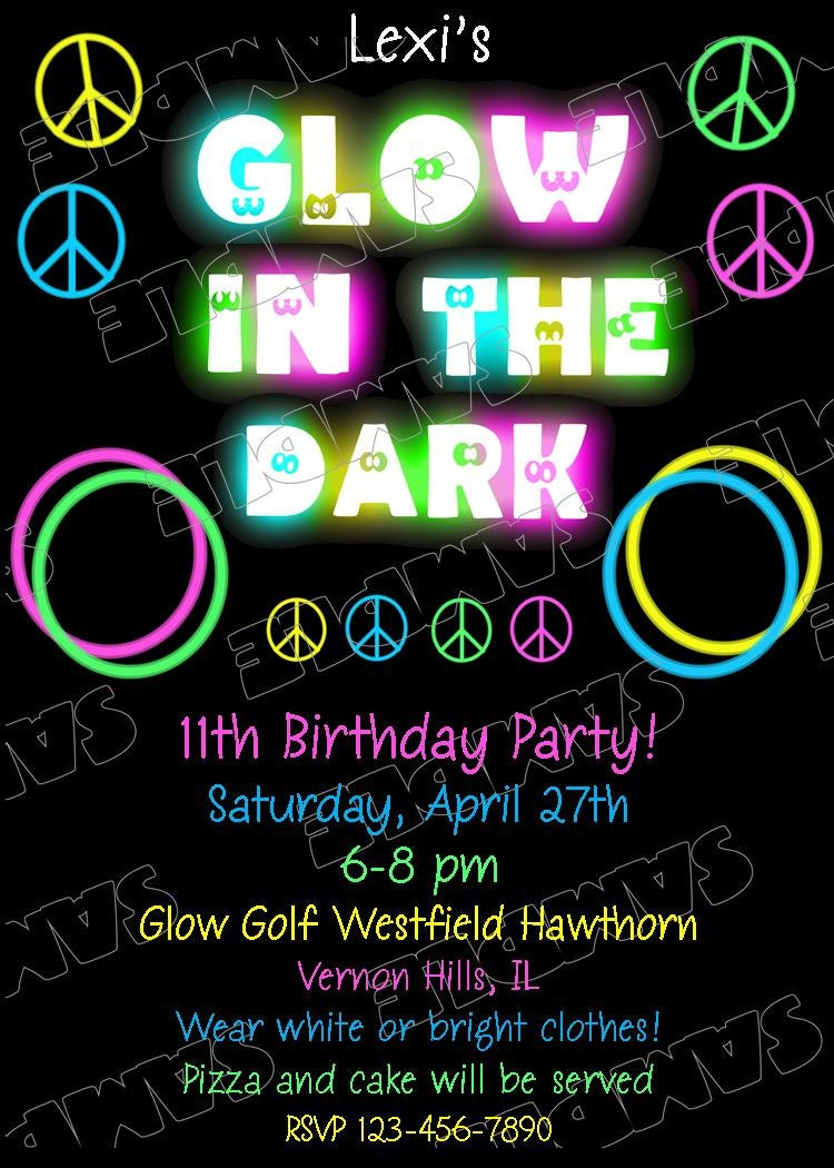 Glow in the dark peace signs invitation glow party birthday