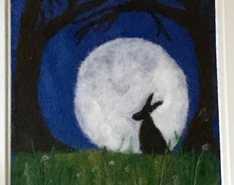 One Of A Kind Needle Felted Hare in Moonlight