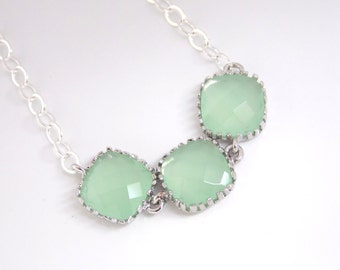 Mint Necklace, Silver Green Necklace, Bridesmaid Jewelry, Bridesmaid Necklace, Sterling Silver, Weddings, Bridal Jewelry, Bridesmaid Gifts