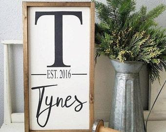 Family Established sign. Rustic framed sign. Wedding gift. Housewarming gift. Framed wood sign.