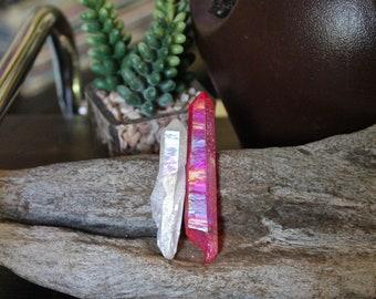 Set of 2 Titanium Quartz Crystal Wands, Wiccan Altar Supplies, Pink Aura Crystal Points, Quartz Crystal Rainbow Aura Quartz