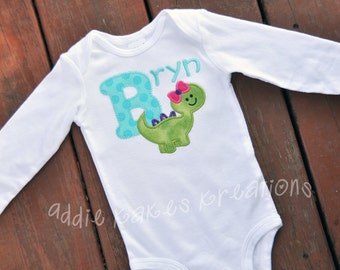 Personalized Girly Dinosaur with Bow Baby Bodysuit