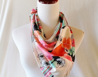 Vintage Retro Peach and Turquoise Triangle Scarf