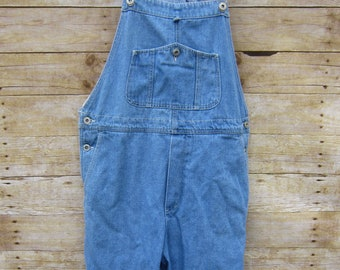 Vintage Denim Overalls - Bibs - Light Wash Dungaree Hipster - Retro - Concert -Grunge - Indie - Size Medium