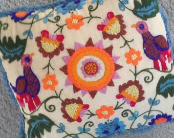Crewel Embroidered Pillow with Birds and Sun