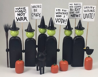 Picketing Witch Figure | Halloween Witch | Witch Decoration | Humorous Witch Sculpture