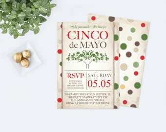 Editable Cinco de Mayo Invite, Fiesta Birthday Party Invitation, Instant Download, Mexican Fiesta Theme, Editable Text PDF Invitation