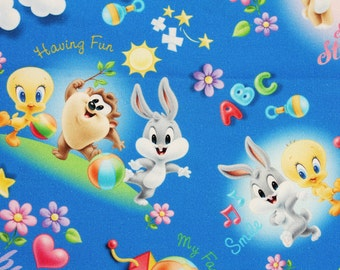 Baby Looney Tunes Tweety Bugs Bunny Sylvester Fabric made in Korea by the Half Yard