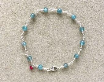 Apatite Beaded Bracelet, Ruby Bracelet, Argentium Sterling Silver Wire Wrapped, Apatite Gemstones, Meditation bracelet