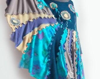 upcycled clothing, upcycling, boho dress, recycled cloth, recycled clothing, cotton dress, size medium large, bohemian clothing