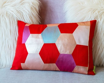 Red Hexagon Cushion Geometric Metallic Pillow Pink Purple Blue Gray Honeycomb Pattern Hexagonal Design 12 x 18 Housewarming Gift Present ECO