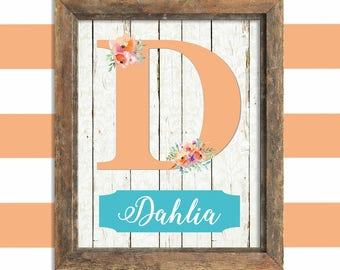 Personalized Nursery Baby Girl Nursery Wall Decor Custom Name Print Personalized Gift Peach Teal Nursery Decor Baby Shower Gift for Baby
