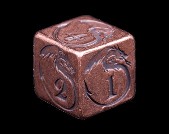 Solid Copper Metal Dice with Dragon Design - Handmade 16mm