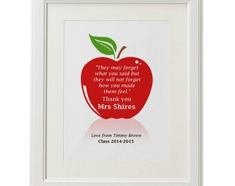 Teachers thank you gift personalised quote typography word art class apple PRINTABLE