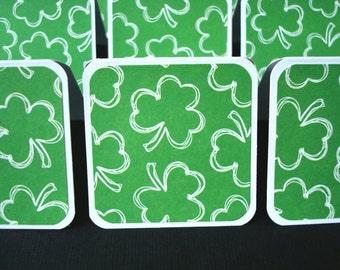 2x2 Mini Cards - Blank St. Patrick's Tags - Gift Cards - Shamrocks (Set of 12)