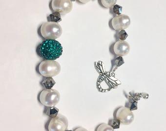 Swarovski Emerald green Pave crystal, black diamond crystal and cultured white pearl bracelet