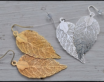 Beautiful  stunning and light  leaf earrings perfect for summer or evening
