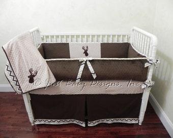 Deer Crib Bedding Set Ty -  Boy Baby Bedding, Deer Baby Bedding, Woodland Nursery Bedding
