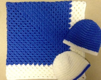 Crochet Baby Blanket With Hats Set of Two 0-3 Months 3-6 Months