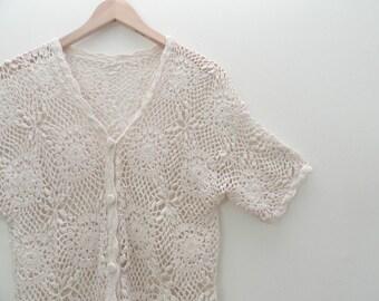 90s Cream Cut Out Floral Crochet Button Up Shirt Swim Suit Cover Up