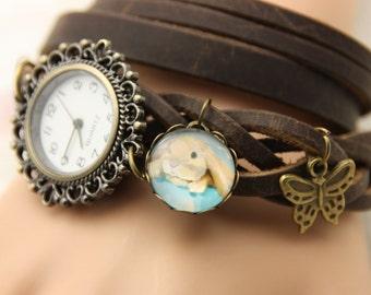 Rabbit Brown leather bracelet