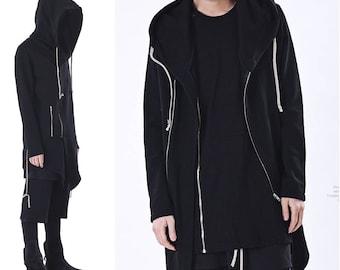 2018 Steampunk Fitting Hooded Zip-up Jacket / Long Sleeve Hoodie // Gothic Avant Garde Over long Assasian CREED Hoodie