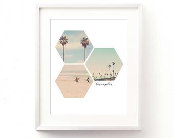 LA photography, digital download, palm tree photo, surfer photo, printable art print, California decor, beach wall art, Los Angeles, hexagon