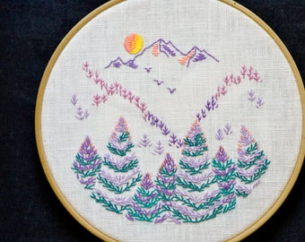 Mountain & Forest, Embroidery pattern, embroidery hoop art, Hand embroidery, hoop art, digital pattern, embroidery design  by NaiveNeedle