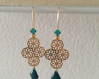 """Bella"" - Bohemian chic trend - gold and green diamond - Swarovski crystal earrings"