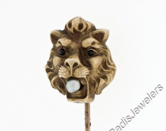 Antique Art Nouveau 10k Yellow Gold Pearl Garnet Eyes Detailed Repousse Lion Head Brooch Stick Pin w/ Patina Preserved